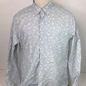 J Crew Men's Blue Floral Print Button Down Shirt